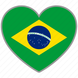 brazil, country, flag, flag heart, love icon
