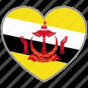 brunei, flag heart, country, flag, love