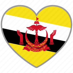 brunei, country, flag, flag heart, love icon