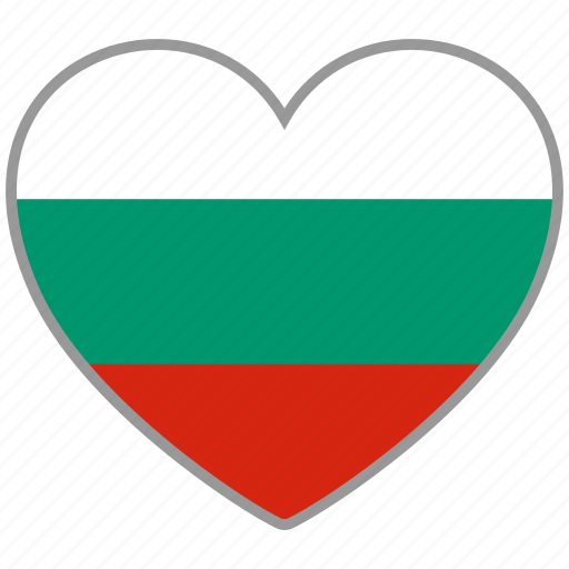bulgaria, country, flag, flag heart, love, nation icon