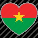 burkina faso, flag, flag heart, love, nation icon