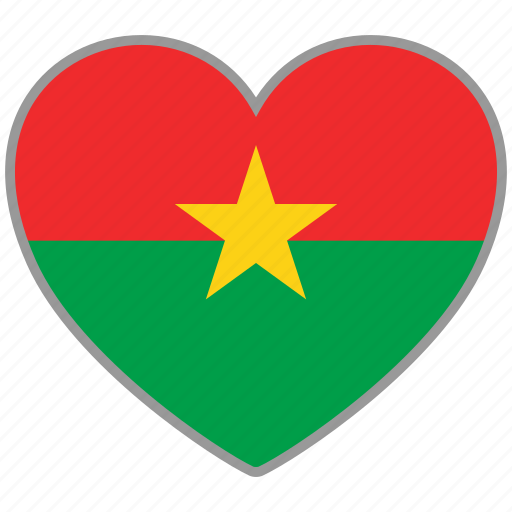 burkina faso, flag, flag heart, love, nation icon