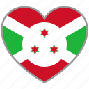 burundi, country, flag, flag heart, love, national icon