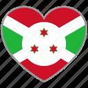 burundi, country, flag, flag heart, love, national icon