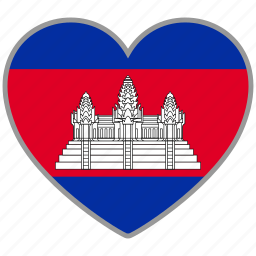 cambodia, country, flag, flag heart, love, nation icon