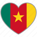 cameroon, country, flag, flag heart, love, nation icon