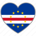 cape verde, flag, flag heart, love, nation icon