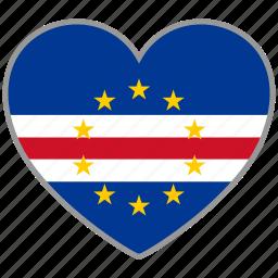 cape verde, flag, flag heart, love, nation icon