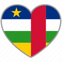 african republic, country, flag heart, love icon