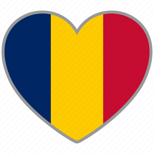 chad, country, flag, flag heart, love icon