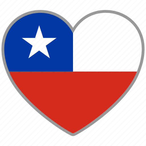 chile, country, flag, flag heart, love icon