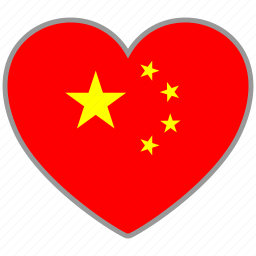asian, china, chinese, country, flag, flag heart, love icon