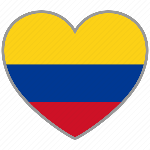 colombia, country, flag, flag heart, love, national icon
