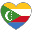 comoros, country, flag, flag heart, love, nation icon