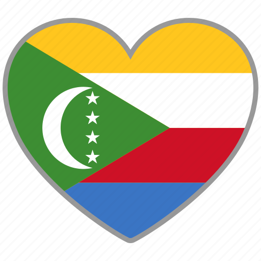 comoros, country, flag, flag heart, love, nation icon
