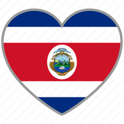 costa rica, country, flag, flag heart, love icon