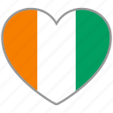 cote d'ivoire, flag, flag heart, love icon
