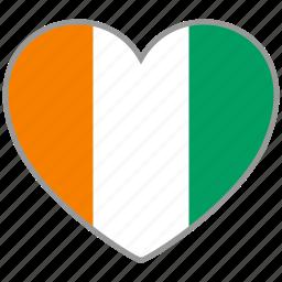 cote d'ivoire, flag, flag heart, love icon