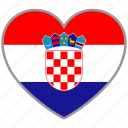 country, croatia, flag, flag heart, love, nation icon