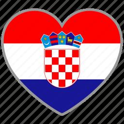 country, croatia, flag, flag heart, love, nation icon