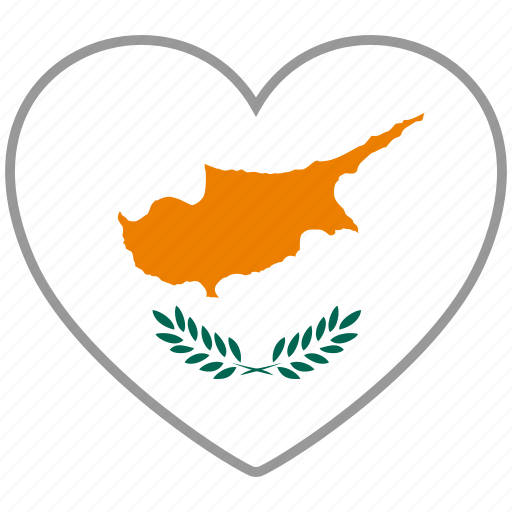 country, cyprus, flag, flag heart, love, nation icon