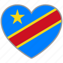 democratic republic of congo, flag, flag heart, love icon