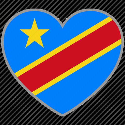 democratic republic of congo, flag, flag heart, love icon