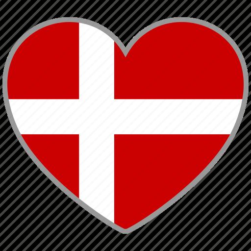 country, denmark, flag, flag heart, love icon