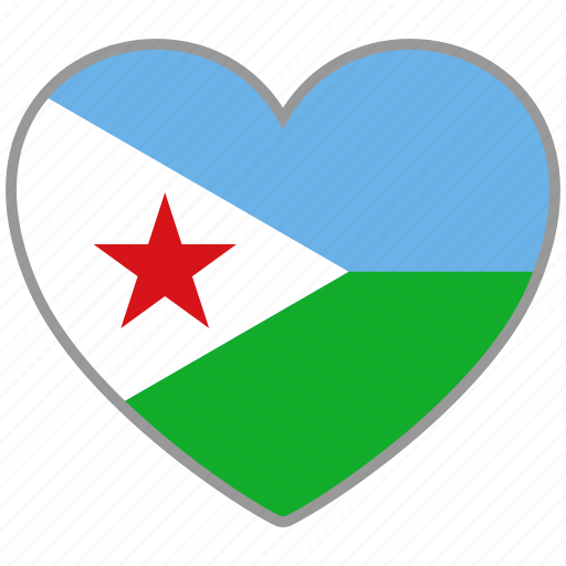 country, djibouti, flag, flag heart, love, nation icon