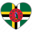 country, dominica, flag, flag heart, love, nation icon