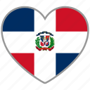 dominican republic, flag, flag heart, love icon