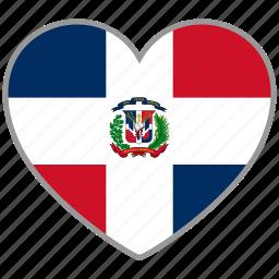dominican republic, flag, flag heart, love icon