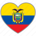 country, ecuador, flag, flag heart, love icon