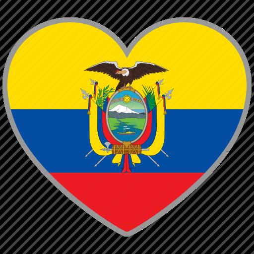 country, ecuador, flag, flag heart, love icon