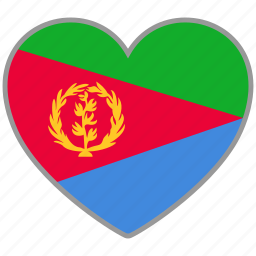 country, eritrea, flag, flag heart, love icon