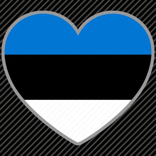 country, estonia, flag, flag heart, love icon