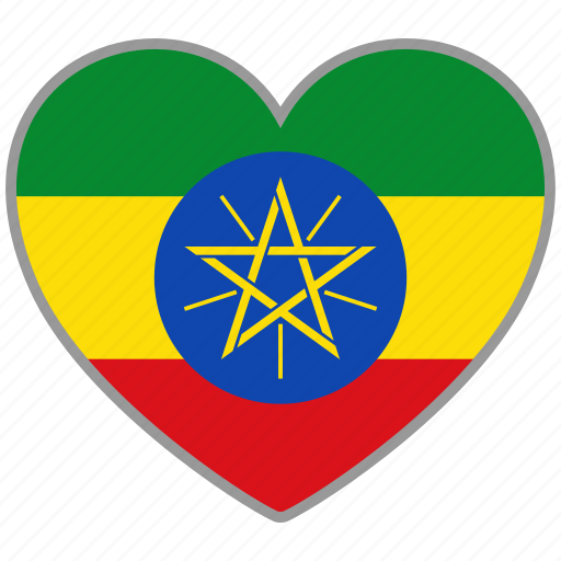country, ethiopia, flag, flag heart, love, nation icon