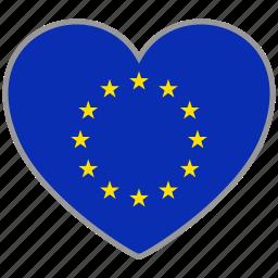 euro, europe, european, flag, flag heart, love, nation icon