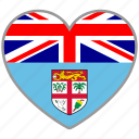 fiji, flag, flag heart, love, nation icon