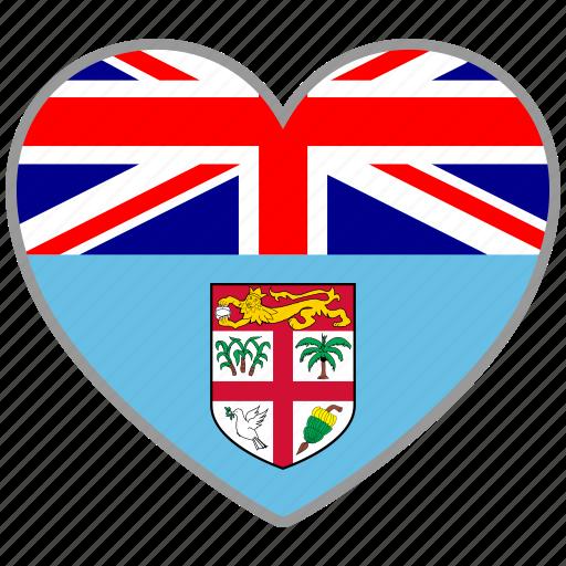 fiji, flag, flag heart, love, nation icon