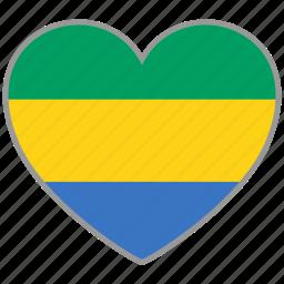 flag, flag heart, gabon, love, nation icon