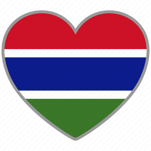 flag, flag heart, gambia, love, nation icon