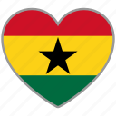 flag, flag heart, ghana, love, nation icon