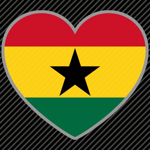 flag, flag heart, ghana, love, nation icon