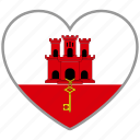 country, flag, flag heart, gibraltar, love icon