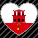 flag heart, gibraltar, country, flag, love