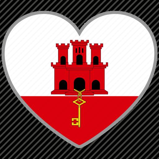 country, flag, flag heart, gibraltar, love icon