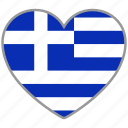 country, flag heart, greece, love, nation icon