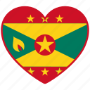 flag, flag heart, grenada, love, national icon