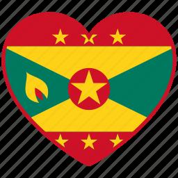 flag, flag heart, grenada, love, national icon